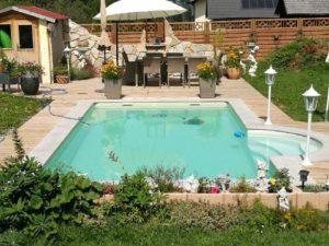 Zwembad houten huis Velden